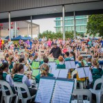 crowd watching elimbah state school band